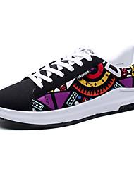Homme Baskets Confort couple Chaussures Toile Printemps Eté Extérieure Décontracté Sport Lacet Talon PlatNoir/blanc Noir/Rouge Pourpre