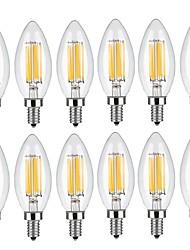 5w e14 led bombillas de filamento c35 6 cob 560 lm blanco cálido blanco fresco decorativo ac 220-240 v 12 piezas