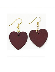 Retro Red Wine Color Wooden Heart Pattern Earrings Love Drop Earrings Jewelry For Wedding Party Birthday Congratulations