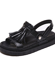 Women's Sandals Creepers Fleece PU Spring Summer Casual Dress Creepers Tassel Magic Tape Flat Heel White Black Beige Khaki 1in-1 3/4in