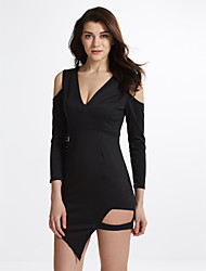Women's Casual / Club Solid / Sexy / Street chic Cut Out Off-The-Shoulder Sheath DressSolid V Neck Above Knee Long Sleeve Spring / Fall