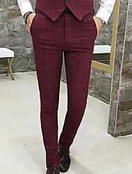Hombre Sencillo Tiro Alto Microelástico Empresa Pantalones,Pitillo A Cuadros