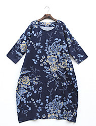 Women's Casual/Daily Loose Dress,Floral Print Round Neck Maxi Long Sleeve Cotton Spring Summer Mid Rise Micro-elastic Thin