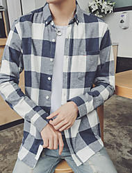 Men's Casual/Daily Simple All Seasons Shirt,Check Button Down Collar Long Sleeve Cotton Medium