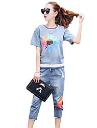 моды денима с короткими рукавами из двух частей трусов костюм случайный летом приток 2016 летом новые женщины