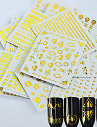 24pcs / set новый способ украшения украшения красотки изображения стикера золота ярлыка золота искусства ногтя конструкции 3D красотки
