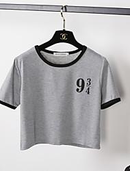T-shirt Da donna Per uscire SensualeTinta unita Rotonda Cotone Manica corta