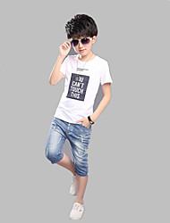 Casual/Daily Sports School Print Tee,Cotton Summer Short Sleeve Regular