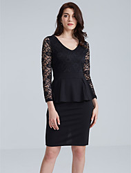 Women's Lace Plus Size / Casual/Daily / Work Street chic Bodycon Dress,Solid V Neck Knee-length Long Sleeve