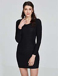 Plus Size Women's 10 Color Formal Party OL Sexy Slim Elasticity Package Hip Long Sleeve Bottoming Dress