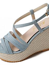 Women's Sandals Comfort PU Summer Outdoor Comfort Wedge Heel Navy Blue Light Blue Light Brown 5in & over