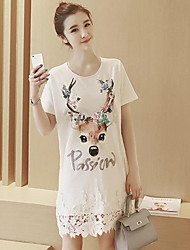 Maternity Summer Wear Fashionable Sweet Fashion  Elk Letters Spell Hook Flower T-shirt Printing  Leisure Pregnant Women Dress