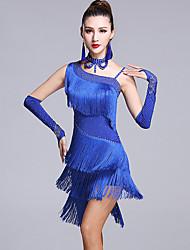 Dança Latina Vestidos Mulheres Actuação Viscose 5 Peças Sem Mangas Natural Vestido Luvas Calções Neckwear