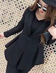 Blazer Femme,Couleur Pleine Décontracté / Quotidien simple Printemps Manches longues Col Arrondi Long Polyester