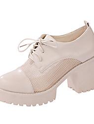 Damen-High Heels-Büro Kleid Lässig-Lackleder-Blockabsatz-Komfort Club-Schuhe-