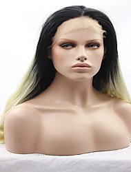 Ombre Two Tone Blonde Hand Tied Straight Glueless Heat Resistant Hair 14 -26 inch Party Synthetic Lace Front Wig