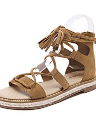 Women's Sandals Summer Gladiator Fleece Casual Flat Heel Lace-up