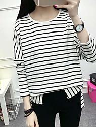 Damen Gestreift Einfach Ausgehen T-shirt,Rundhalsausschnitt Langarm Baumwolle