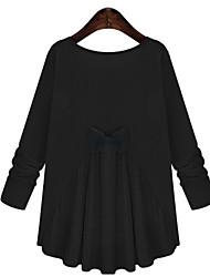 Tee-shirt Femme,Couleur Pleine Décontracté / Quotidien simple Manches Longues Col Arrondi Spandex