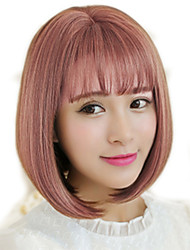 Japan and South Korea latest fashion lady short paragraph wigs mixed blue and white straight bangs natural wave high temperature wire wig