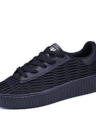 Chaussures de sport pour femmes Printemps élastique Bracelet en tulle occasionnel Noir / blanc titane Noir Blanc