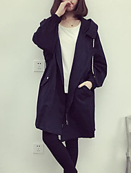 Women's Casual/Daily Simple Spring Coat,Solid Hooded Long Sleeve Long Cotton