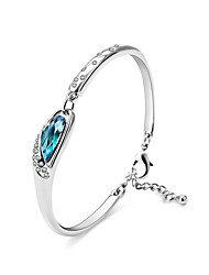 lureme®  Women's Bangles Crystal Natural Handmade Fashion Punk Luxury DIY Sterling Silver Crystal Round Jewelry For Party Engagement Gift 1 pc