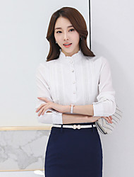 Women's Casual/Daily Simple Shirt,Solid Stand Long Sleeve Cotton