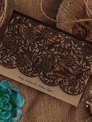 Personnalisé Pli Parallèle Horizontal Invitations de mariageAutocollant d'enveloppe Programme Fan Menu de mariage Cartes d'invitation