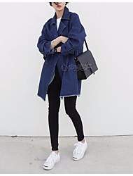 Women's Going out Simple Spring Denim Jacket,Solid Square Neck Long Sleeve Long Others