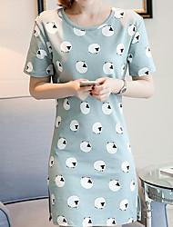 Tee-shirt Femme,Points Polka Sortie Plage Mignon Eté Manches Courtes Col Arrondi Coton Fin