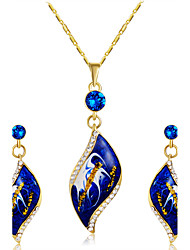 Earrings Set Necklace Pendants AAA Cubic Zirconia Euramerican Fashion Cubic Zirconia Alloy Leaf 1 Necklace 1 Pair of Earrings ForWedding