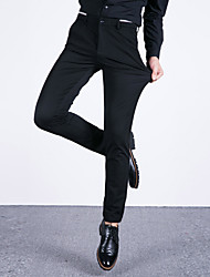 Men's Mid Rise Micro-elastic Chinos Business Pants Straight Slim Solid CY-1612