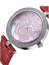 Women's Fashion Watch Japanese Quartz Leather Band Red