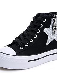 Damen-Sneakers Frühling Komfort Leinwand Gummi casual blau schwarz weiß