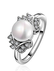 Ring Imitation Pearl AAA Cubic ZirconiaBasic Unique Design Rhinestone Heart Geometric Friendship Turkish Cute Style Imitation Pearl