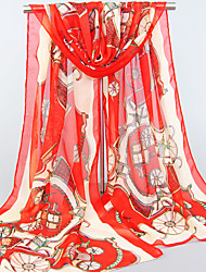 Womens Fashion Chiffon Red/Fuchsia/Yellow/Royal Blue/Navy Blue/Pink/Black/Blue Print Scarfs 155*50CM