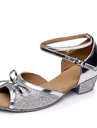 Women's Dance Shoes Paillette Latin Flats Low Heel Performance Blue Fuchsia Silver Gold