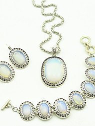 Toonykelly ® Vintage Look Antique Silver Oval Natural Opal Stone Jewelry Set(1Set)