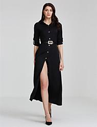 Ample Robe Femme Soirée / Cocktail Sexy,Couleur Pleine Col de Chemise Maxi Manches Longues Noir Automne Non Elastique Moyen