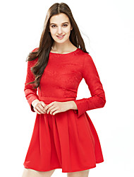 Women's Formal Sophisticated A Line DressEmbroidered Round Neck Above Knee  Sleeve Red Nylon Fall Mid Rise Micro-elastic