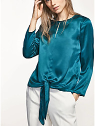 Damen Solide Sexy Einfach Street Schick Ausgehen Lässig/Alltäglich T-shirt,Rundhalsausschnitt Sommer Langarm Seide Baumwolle Dünn Mittel