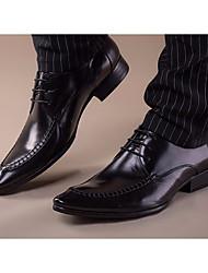 Men's Oxfords Comfort Leather Spring Casual Comfort Black Burgundy Flat
