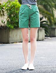 Feminino Chique e Moderno Cintura Alta Chinos Calças,Reto Cor Única