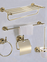 Antique Gold Color Luxury Brass 5pcs Bathroom Accessory Set
