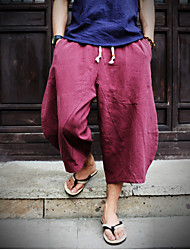 Men's Mid Rise Inelastic Chinos Pants,Chinoiserie Loose Solid