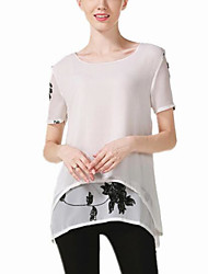 Women's Casual/Daily Cute Spring Summer Blouse,Embroidered Round Neck Short Sleeve Polyester Medium