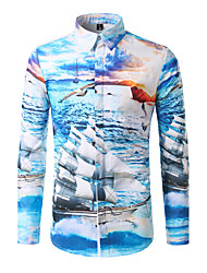 Men's Going out Beach Holiday Simple Active Spring Fall Shirt,Print Classic Collar Long Sleeve Cotton Polyester Medium