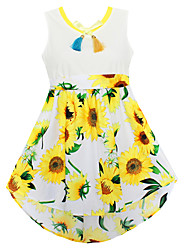 Girls Dress Fashion Sunflower Print Cute Party Pageant Holiday Children Clothes