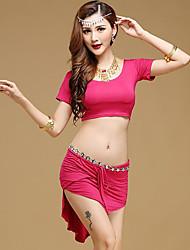 Мы будем латинскими танцами одежды женщин производительность модальные 2 штуки с коротким рукавом высокие юбки tops